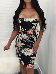 Women's Going out Casual/Daily Club Sexy Vintage Bodycon DressFloral Color Block Lace Up Backless Strapless Mini Sleeveless Spring High Rise