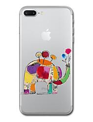 Til iphone 7 plus 7 case cover gennemsigtigt mønster bagside cover elefant soft tpu til iphone 6s plus 6s 6 plus 6 5s 5 se
