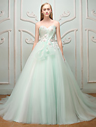 Princess Sweetheart Sweep / Brush Train Lace Tulle Rehearsal Dinner Formal Evening Dress with Beading Flower(s) Lace Bandage by QZ
