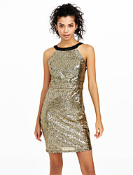 Women's Sequin|Backless Party Club Sexy Street chic Slim Bodycon DressColor Block Backless Sequins Halter Mini Sleeveless