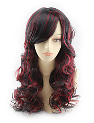 Hot Fashion Wig Black Grades Wine Red Wig Make Face Long Curls 22inch