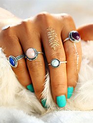 Men's Women's Ring Unique Design Circle Fashion Vintage Punk Euramerican Simple Style Elegant Zinc Alloy Circle Oval Round Jewelry For