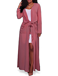 cheap -Women's Holiday Going out Beach Simple Casual Sexy Spring Fall Trench Coat,Solid V Neck Long Sleeve Maxi Polyester