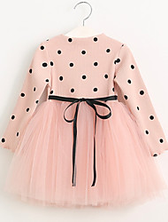 cheap -Girl's Polka Dot Dress, Cotton Acrylic Nylon Winter Fall Long Sleeves Dot Blushing Pink