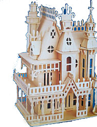 cheap -3D Puzzles Jigsaw Puzzle Model Building Kits Wood Model Rectangular Castle Famous buildings Architecture 3D Wood Natural Wood All Ages