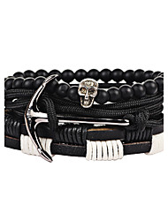 Women's Men's Strand Bracelet Friendship Gothic Fashion Hip-Hop Stretch Resin Aluminium Nylon PVA Round Geometric Skull / Skeleton Jewelry