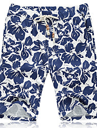 Men's Mid Rise Inelastic Shorts Pants,Active Simple Loose Floral