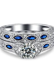 preiswerte -Damen Ring Kubikzirkonia Retro Elegant Doppelschicht Kubikzirkonia Platin Kreisförmig Modeschmuck Hochzeit Jahrestag Party Verlobung