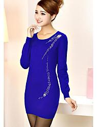 economico -Standard Pullover Da donna-Casual Semplice Tinta unita Rotonda Manica lunga Cashmere Nylon Inverno Medio spessore Media elasticità