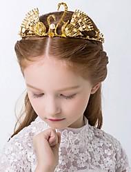 Girl's Crown Headband Gold 3D Swan Faux Pearl Alloy Princess Hair Accessory