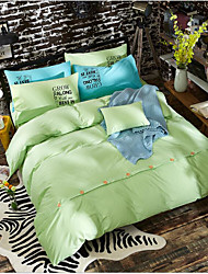 cheap -Solid Color 4 Piece Cotton Cloth Machine Made Cotton Cloth 1pc Duvet Cover 2pcs Shams 1pc Flat Sheet