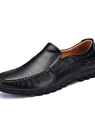Men's Loafers & Slip-Ons Comfort Spring Fall Real Leather Nappa Leather Casual Outdoor Office & Career Flat Heel Black Yellow Dark Brown