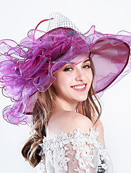 cheap -Feather Silk Organza Fascinators Hats Headwear with Floral 1pc Wedding Special Occasion Party / Evening Casual Outdoor Headpiece