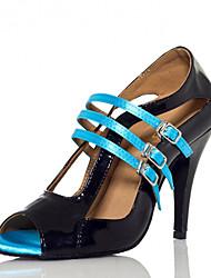 """economico -Da donna Balli latino-americani Seta Sandali Esibizione Con fermaglio di chiusura A stiletto Black / Blue 3 """"- 3 3/4"""" Personalizzabile"""