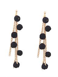 cheap -Fashion Women Trendy Small Fur Ball Multi Chain Drop Earrings