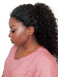 baratos -Cabelo Humano Renda Frontal sem Cola Frente de Malha Peruca Kinky Curly Peruca Riscas Naturais Peruca Afro Americanas 100% Feita a Mão Mulheres Médio Longo Perucas de Cabelo Natural / Crespo Cacheado