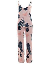 Feminino Regata Calça Conjuntos Feriado Para Noite Bandagem Sensual Boho Primavera Verão,Árvores/Folhas Estampa Colorida GeométricoFrente