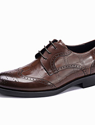 cheap -Men's Formal Shoes Leather / Cowhide Spring / Fall Wedding Shoes Black / Coffee / Burgundy / Party & Evening / Brogue / Leather Shoes