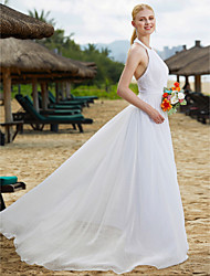 A-Line Halter Floor Length Lace Tulle Wedding Dress with Lace Draped by LAN TING BRIDE®