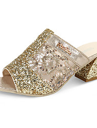 Women's Sandals Comfort Summer PU Walking Shoes Casual Low Heel Gold Silver 1in-1 3/4in