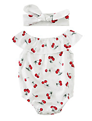 Baby Print One-Pieces Cotton Blends Summer Sleeveless Cherry Baby Girls Romper with Headband Kids Jumpsuits Bodysuits