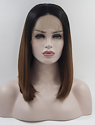 cheap -Short Bob Black ombre Brown Heat Resistant Fiber Cosplay Party Synthetic Lace Front Wigs With Baby Hair For Black Women