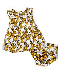 cheap -Baby Girls' Cartoon / Animal Print Holiday / Going out / Casual / Daily Animal Sleeveless Clothing Set