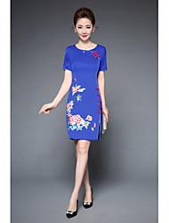 levne -Dámské Větší velikosti Čínské vzory Pouzdro Šaty - Výšivka, Květiny