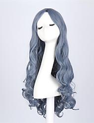 Perucas sintéticas Ondulado Sem Touca Mulheres Azul Peruca Natural Longo