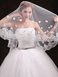 cheap -One-tier Lace Applique Edge Wedding Veil Chapel Veils With Applique Embroidery Tulle