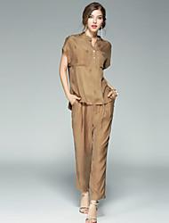 EWUS/Women's Sports Running Simple Active Summer Fall T-shirt Pant SuitsStriped Shirt Collar Short Sleeve Inelastic