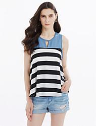 cheap -Women's Cute Cotton T-shirt - Striped Denim