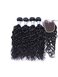 cheap -4 Bundles 400g 100% Unprocessed Natural Wave Brazilian Remy Human Hair Wefts with 1Pcs 4x4 Lace Closures  Natural Black Human Hair Extensions/Weaves