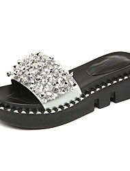 cheap -Women's Shoes Patent Leather Summer Moccasin Slippers & Flip-Flops Wedge Heel Peep Toe Rhinestone for Casual Black Silver