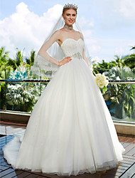 cheap -A-Line Sweetheart Sweep / Brush Train Chiffon Lace Wedding Dress with Beading Draped by LAN TING BRIDE®