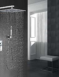 Contemporary Modern Style Wall Mounted Rain Shower Handshower Included Wall Mount with  Ceramic Valve Chrome  Shower Faucet