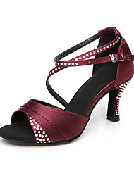 Damen Latin Seide Sandalen Sneakers Professionell Strass Verschlussschnalle Blockabsatz Schwarz Rot 5 - 6,8 cm Maßfertigung