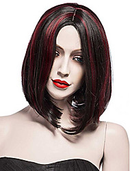 Fashion Daily Wearing Wig for Women Black mixed Red Wave Natural Heat Resistant Short Synthetic Wigs