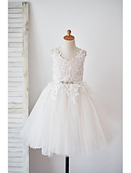 A-Line Knee Length Flower Girl Dress - Lace Satin Tulle Sleeveless Strap with Ribbon by thstylee