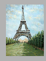 cheap -IARTS® Abstract Modern Eiffel Tower in Grey & Red Paris Letters Handmade Oil Painting On Canvas with Stretched Frame Wall Art For Home Decoration Read