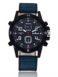 Men's Sport Watch Quartz Large Dial Leather Band Cool Black Blue Brown Green Purple Khaki