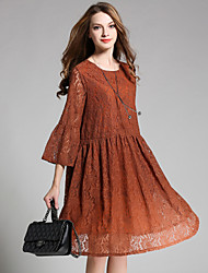 cheap -Women's Party Going out Sexy Loose Lace Dress,Lace Round Neck Midi 3/4 Length Sleeves Lace Spring Fall High Rise Inelastic 120D