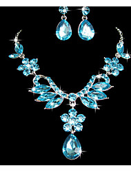 cheap -Women's Rhinestone Flower Jewelry Set - Pendant Purple / Blue Jewelry Set For Wedding / Party / Special Occasion