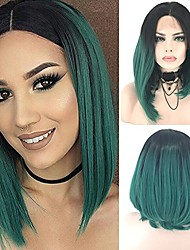 cheap -Synthetic Lace Front Wig Straight Bob Haircut Ombre Hair Green Women's Lace Front Cosplay Wig Short Synthetic Hair
