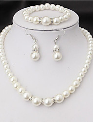 Fashion Classic Imitation Pearl Silver Plated Clear Crystal Top Elegant Party Gift Fashion Costume Pearl Jewelry Sets