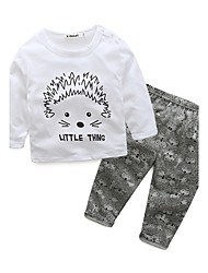 cheap -Baby Children's Cotton Casual/Daily Going out Holiday Animal Print Cartoon Clothing Set, 100% Cotton Autumn/Fall Spring Cartoon Animal