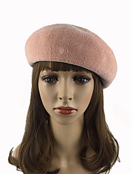 cheap -Women's Cotton Polyester Beret/Bucket Hat Pure Chic & Modern Keep Warm Fashion Casual Solid Cap Fall Winter Pure Color Wine/Grey/Black/Pink