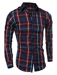 cheap -Men's Street chic Shirt - Plaid Classic Collar