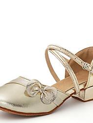 Latin Kid's Dance Shoes Sandals Leatherette Cuban Heel Gold/Silver