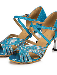 cheap -Women's Latin Shoes Glitter Heel Buckle / Crystals / Rhinestones Customizable Dance Shoes Gold / Blue / Indoor / Leather